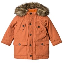 Pepe Jeans Orange Down and Cotton Fill Parka with Detachable Hood 135