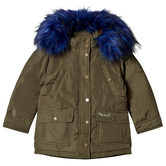 Pepe Jeans Khaki Parka with Blue Faux Fur Hood 716