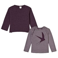 The Little Tailor Plum Slub Tee and Swallow Print Tee Combo PLUM WITH PLUM STRIPE
