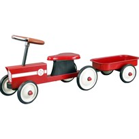 STOY Red Steel Little Tractor with Trailer Rød