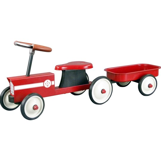 STOY Red Steel Little Tractor with Trailer Red