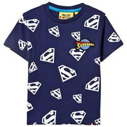 Fabric Flavours Blue Superman Repeat Glow in the Dark Print Tee