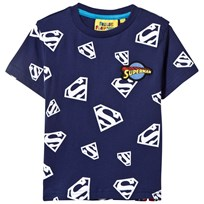 Fabric Flavours Blue Superman Repeat Glow in the Dark Print Tee Blue