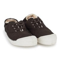 Bensimon Brown Faux Fur Plimsolls BROWN