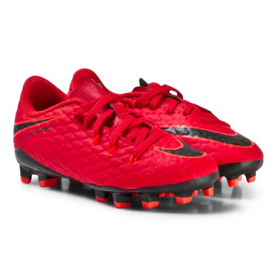 NIKE Hypervenom Phelon III Junior Firm Ground Football Boots UNIVERSITY RED/BLACK-BRIGHT CRIMSON