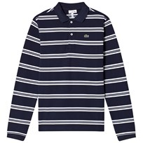 Lacoste Navy and White Long Sleeve Pique Polo 525