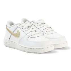 NIKE White and Gold Nike Air Force 1 Infants Trainers