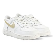 NIKE White and Gold Nike Air Force 1 Infants Trainers SUMMIT WHITE/MTLC GOLD STAR-SUMMIT WHITE