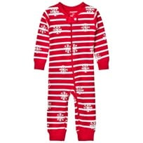 Hatley Red Snowflake Print Waffle Footless Babygrow Red
