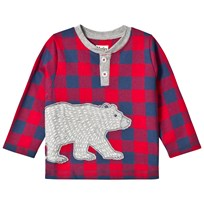 Hatley Red Bear Applique Gingham Tee Red