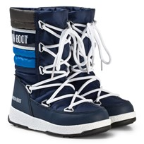 Moon Boot Moon Boot Moonboot WE Quilted JR WP Navy/Royal/Silver NAVY-ROYAL-SILVER