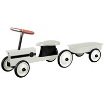 STOY Ivory Steel Little Tractor with Trailer White