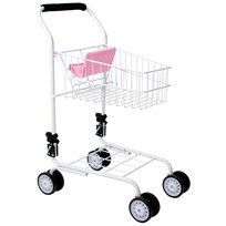 STOY Dolls Shopping Cart in Metal Pink