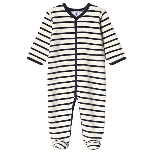 Petit Bateau Footed Baby Body Velour Coquille/Smoking Coquille/Smoking