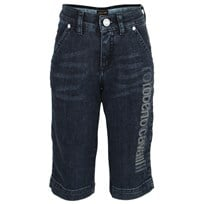 Roberto Cavalli Denim Bermuda with Branding on Leg Blue
