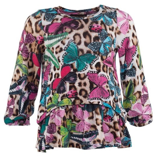 Roberto Cavalli Multi Butterfly And Leopard Printed Jersey Blouse 999MA