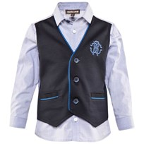 Roberto Cavalli Pale Blue Cotton Poplin Shirt With Faux Navy Milano Waistcoat 607BL