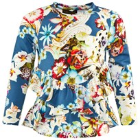 Roberto Cavalli Blue Multi Floral Printed Tee With Double Frill Hem 614MC