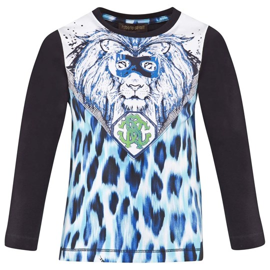 Roberto Cavalli Navy And White Tee With Blue And Navy Lion And Leopard Print 620