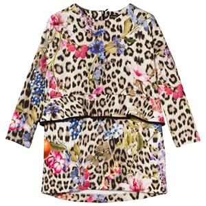 Image of Roberto Cavalli Leopard and Floral Print Peplum Dress M (14 years) (3032690451)