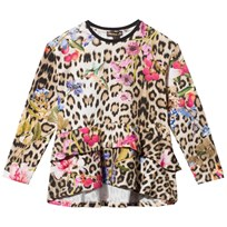 Roberto Cavalli Leopard and Floral Ruffle Hem Tee 110RS