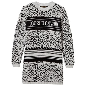 Image of Roberto Cavalli Grey and Black Leopard Print and Logo Knit Jumper Dress 6 years (2839667975)