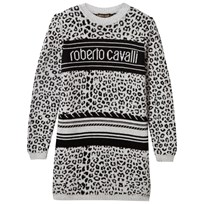 Roberto Cavalli Grey and Black Leopard Print and Logo Knit Jumper Dress 900NE