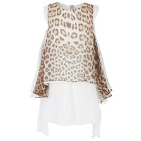 Roberto Cavalli Leopard Print Waterfall Silk Dress Beige