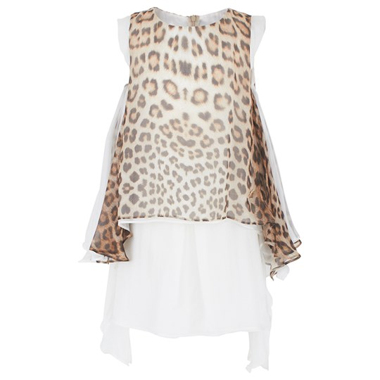 Roberto Cavalli Leopard Print Waterfall Silk Dress бежевый