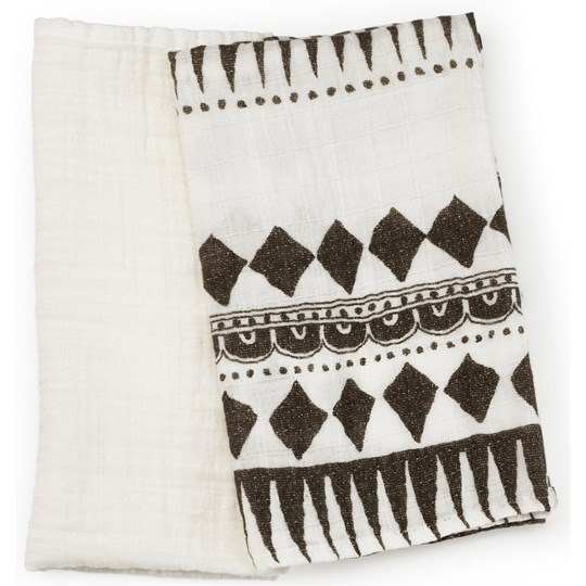 Elodie Details Bamboo Muslin Blanket Set Graphic Devotion Svart/Vit