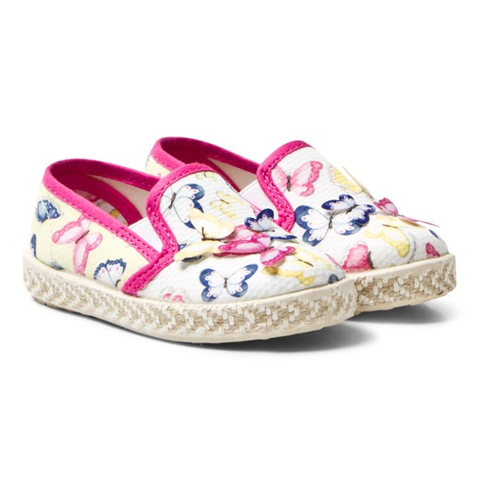 Monnalisa White Butterfly Print and Applique Espadrilles 9984