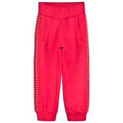 Monnalisa Red Track Pant with Gold Studs