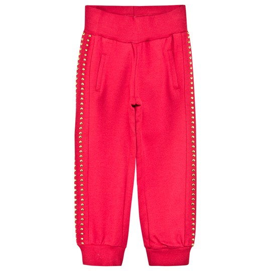Monnalisa Red Track Pant with Gold Studs Red