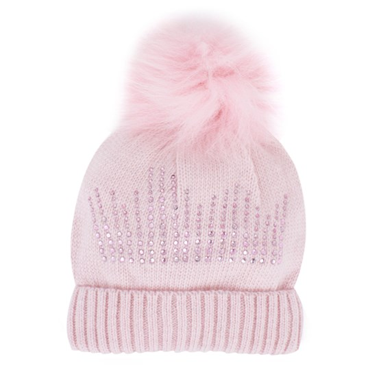 Monnalisa Pink Knitted Bobble Hat with Real Fur Pink