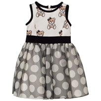 Monnalisa White Bear Print Neoprene and Spot Tulle Skirt Dress 5002