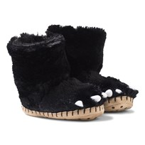 Hatley Fuzzy Bear Paw Slippers Black Bear Paws