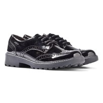 Geox Casey Black Patent Lace Up School Shoes Black