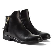 Geox JR Agata Black Leather Ankle Boots Black