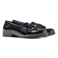 Geox JR Agata Black Patent Tassle Loafers Black