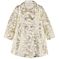 I Pinco Pallino Gold and White Couture Jacquard Double Breasted Coat J004C