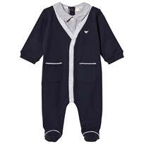 Navy Mock Shirt and Cardigan One-Piece