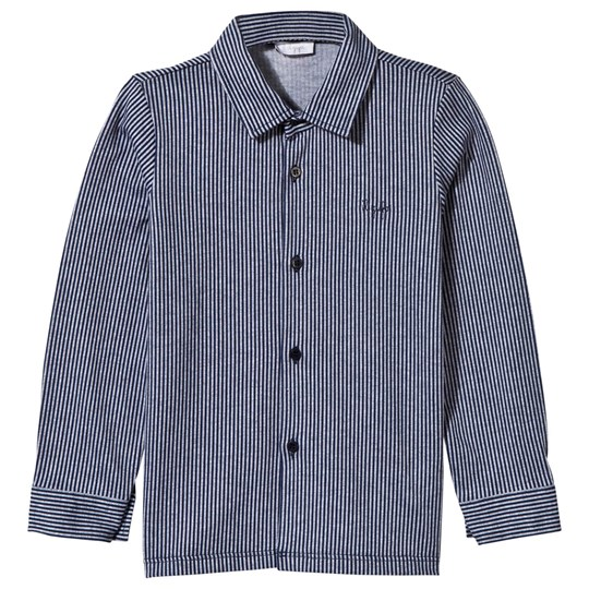 Il Gufo Navy and White Jersey Shirt 497