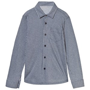 Image of Il Gufo Jersey Stripe Shirt in Navy and Grey 5 years (2839680651)
