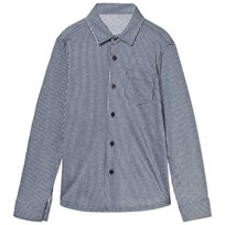 Il Gufo Navy and Grey Jersey Stripe Shirt 497