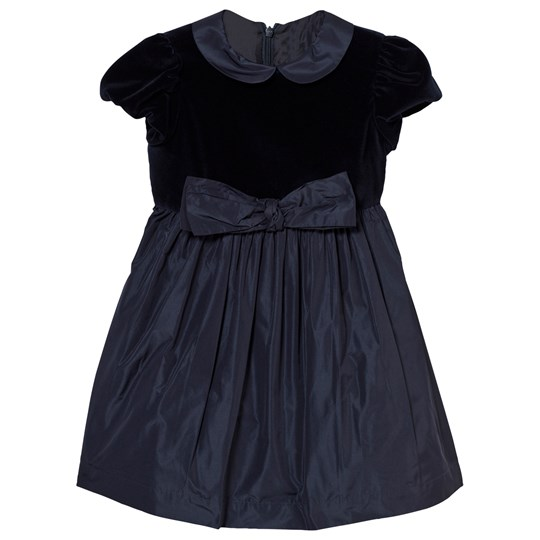 Il Gufo Navy Velvet Bow Dress 4949