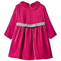 Il Gufo Hot Pink Velvet Dress with Bow Belt 385