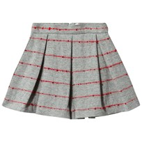 Il Gufo Grey Skirt with Red Slub Stripe 0737
