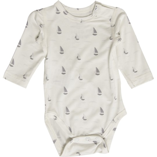 Hust&Claire White Sailboat Baby Body Black