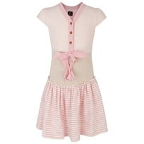 Jessie & James Stripe Panel Bow Dress Pink and White