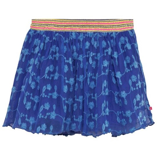 Le Big Blue Floral Embroidered Net Skirt with Glitter Waistband 622 BLUE HYACINTH